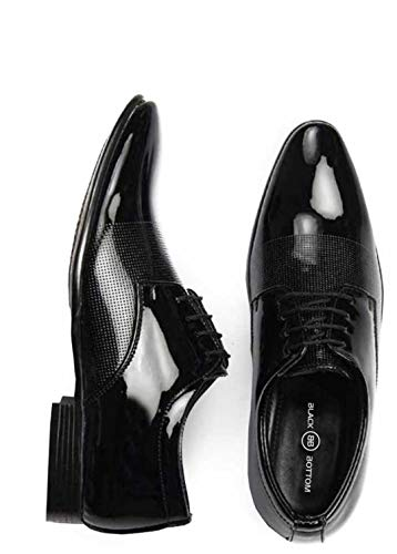 BLACK BOTTOM Men Formal Shoes, Lace Up Formal Shoes for Men, Patent Leather Formal Shoes for Office Meetings Wedding