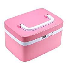 Combination Lock Storage Box, EVERTOP Multi-function Storage Bins with Compartments and Removable Dividers for Cosmetics, Makeup Brushes, CD, Essential Oils, Arts Crafts, Medical Supplies (Pink)