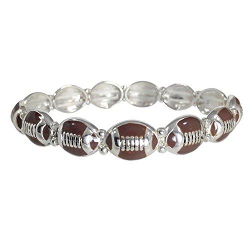 (Gypsy Jewels Sports Theme Silver Tone Stretch Bracelet (Dainty Brown)
