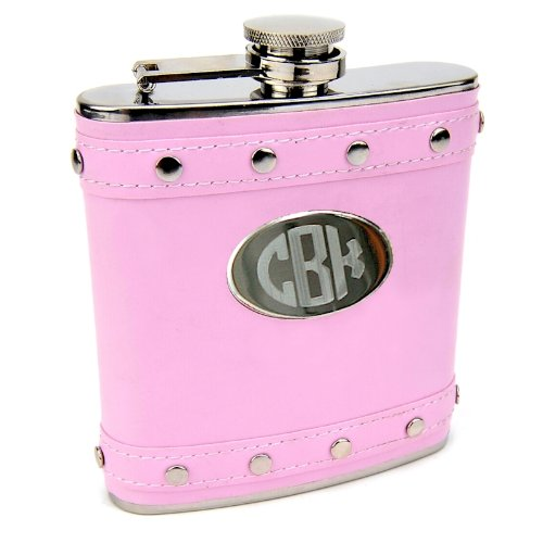Silver Stud 6oz Hip Flask with Pink Faux Leather, Free Personalization ()