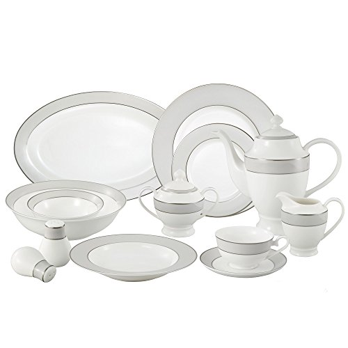 (Lorren Home Trends La Luna Collection Bone China 57-Piece Silver Border and Trim Dinnerware Set, Service for 8)