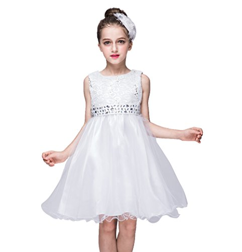 Wedding Flower Girl Double-Layer Tulle Dress Glitter Sequined Bodice Rhinestones Sash Tutu (8, (Double Layer Tutu)