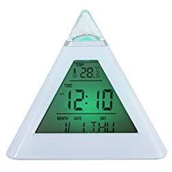KINGSEVEN Pyramid Wake Up Desk Clock 7 Colors Change Electronic Alarm Clocks with Temperature