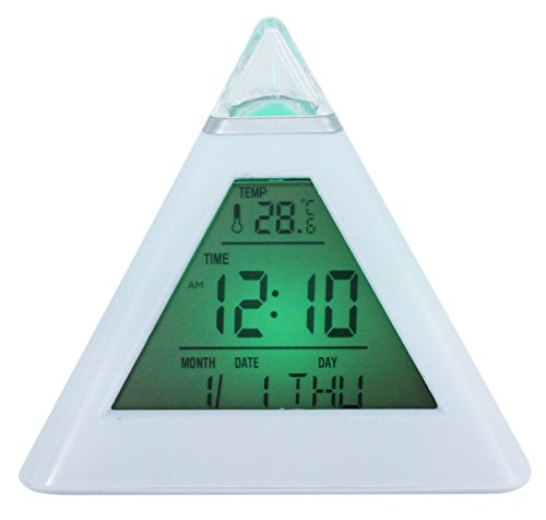 Pyramid Table Clock - KINGSEVEN Pyramid Wake Up Desk Clock 7 Colors Change Electronic Alarm Clocks with Temperature