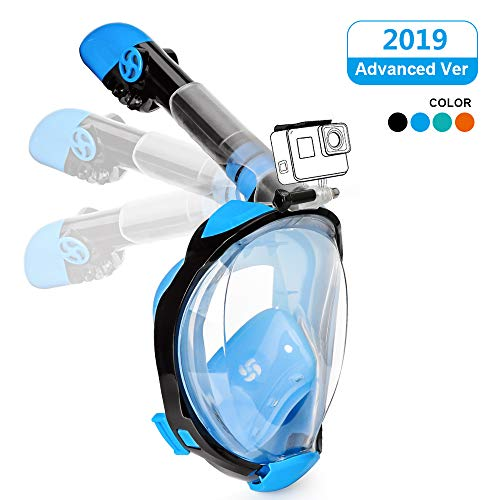 Full Face Snorkeling Mask Easy Breathing Foldable 180° Seaview Snorkel Masks for Adults or Kids Anti-Fog Anti-Leak with Action Camera Mount (Newest Version) (Blue, S/M)