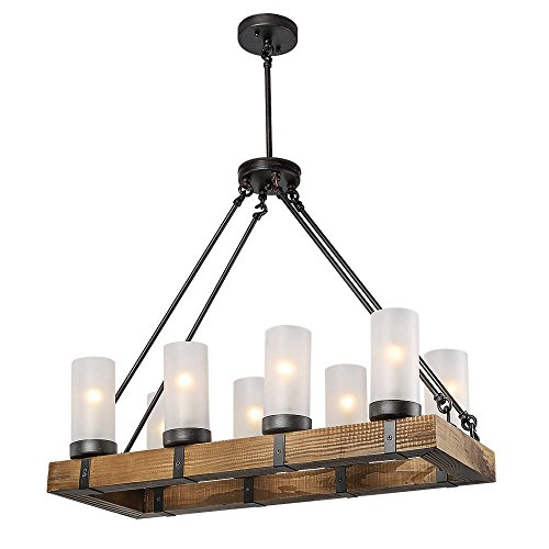 LALUZ Rustic Ceiling Lights Wood Chandelier Lighting Kitchen Island Pendant Light