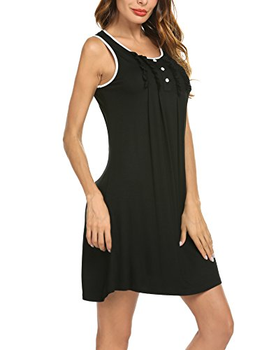 6b32eebad Hotouch Ladies Night Shirt Casual Nights Plus Size Sleepwear for Women  Black S