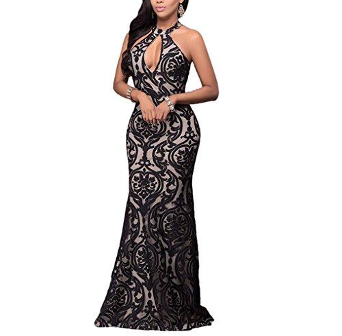 long black halter evening dress - 9