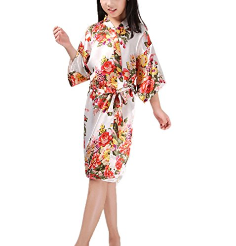 Mobarta Girls' Floral Satin Kimono Robe Flower Girl Bathrobe Getting Ready Robe for Wedding Spa Party Birthday Gift by Mobarta