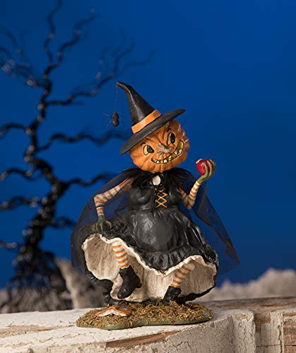 Bethany Lowe Witch Playing with Magic Pumpkin Face Figurine Halloween