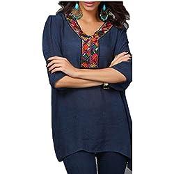 qiangjinjiu Mujer Bordado bohemio camisas Túnica Tops mexicano blusa campesina, 2, US M