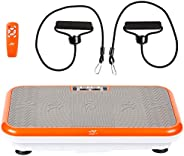 Powerfit Elite Vibration Plate Exercise Machine with Loop Resistance Bands - Whole Body Workout Fitness Platfo