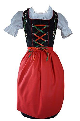 Dirndl-s Di23 3pcs. Size 18, Women Oktoberfest drindle-s Dress-ES Costume-s Black Red (Costume German Folk)