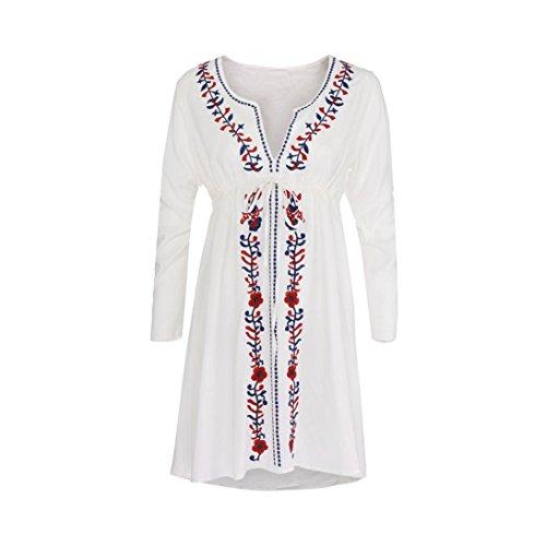 Blanc de Bohme Plage en Robe Femme Coton Manche Robe Mini longue Paolian Broderie Hq7zwPxF