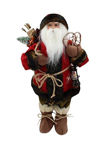 17.5-inch Standing Santa Claus Christmas Figure Holding Gift Sack Lantern and Snow Shoes (Santa Claus Snow)