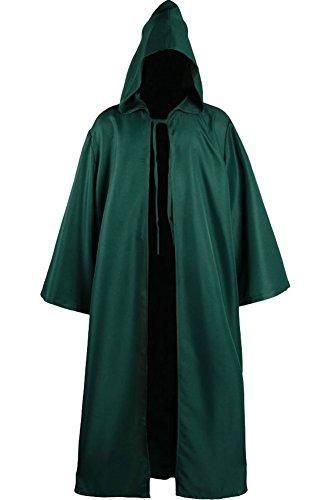 Cosplaysky Men Tunic Hooded Knight Halloween Cloak for Jedi Robe Costume (Green, Large)]()