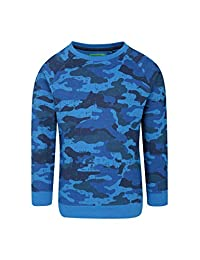 Mountain Warehouse Printed Boys Sweatshirt -100% Cotton Kids Pullover Blue 5-6 years