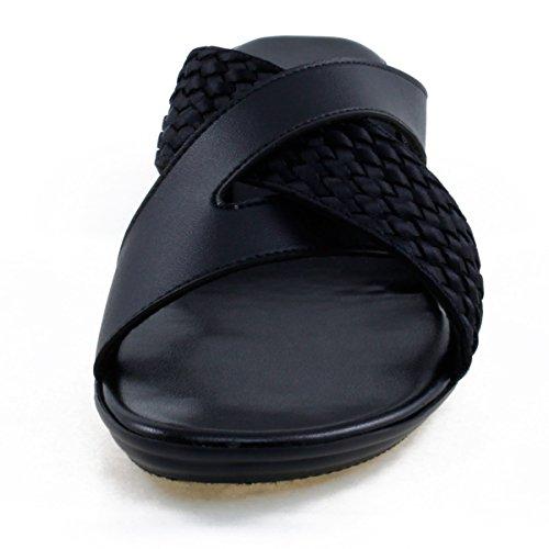 Agape HOLDING-46 Lightweight Crisscross Wedge Sandal Black 8.5 by Agape (Image #4)