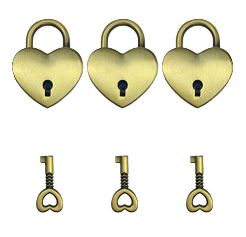 Antique Style Metal Lock - Hyamass 3pcs Vintage Antique Style Mini Heart Archaize Padlocks Key Lock with Keys