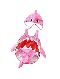 SolwDa Toddler Kids Baby Boys Blue Swimsuit Cartoon Shark Swimwear Bathing Suit + Hat Outfits Girls Pink Bikini New