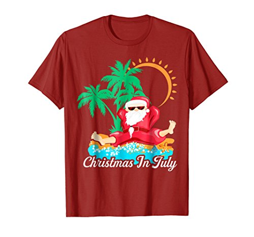 Mens Christmas In July T Shirt Decoration Party Supplies XL Cranberry -