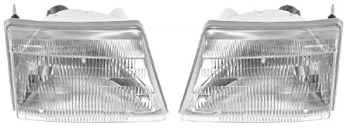 Headlights Headlamps Left & Right Pair Set for 98-00 Ford Ranger Pickup (Ranger Pickup Headlight)