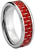 Dark Red Carbon Fiber Inlay Silver Plated Tungsten Carbide Men's 8mm Wedding Band Ring