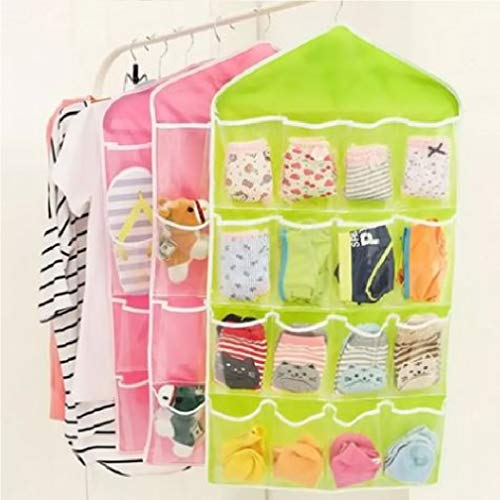 - HomeExpress 16-Pocket Hanging Closet Organizer Jewelry Accessories Organizer, Undergarments, Socks Ties Hanging Organizer,Shower Caddies (Green)