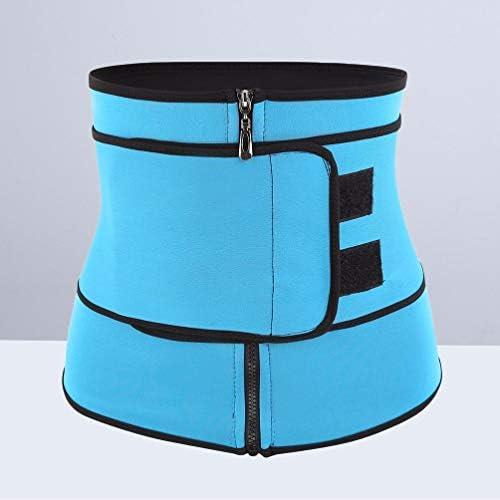 HEALLILY Neoprene Sweat Waist Trainer Yoga Sauna Corset Trimmer Belt Cincher Body Shaper Slimmer for Women Weight Loss Waist Blue (Size L) 5