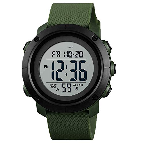 Men s Sports Watches Digital LED Face Backlight Military Waterproof Black Watch Birthday for Boys Girls