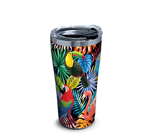 (Tervis 1294872 Tropical Collection Birds Stainless Steel Insulated Tumbler with Clear and Black Hammer Lid, 20oz, Silver)