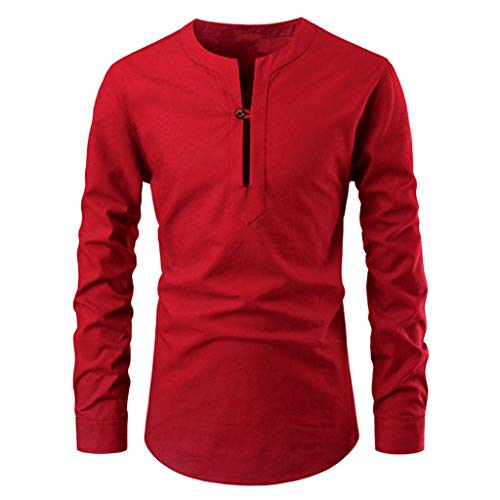 iYBWZH Men's Slim Fit Long Sleeve Daily Shirts Solid Color One Button Stand Collar T Shirt Tops Casual Blouse Red