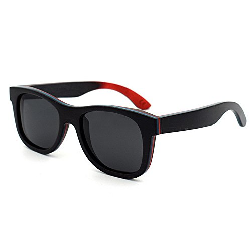 en Orange lentille unisexe rétro Handcraft Coloré soleil Style pour de UV400 Noir adulte lunettes Rimmed Couleur de KOMEISHO protection couleur bois twfpqxHB