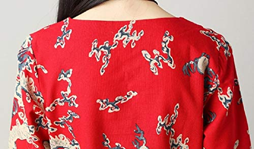 Style Printed Dress Red Women's Autumn Crewneck Long Mid Folk Sleeve Howme 1vYqF0wzz