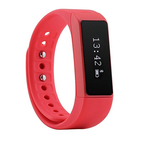 Efanr I5PLUS Bluetooth SmartWatch Smart Bracelet Watch Wristband Smartband Phone Mate Sport Exercise Fitness Activity Pedometer Tracker for iPhone IOS 7.0+ / Android 4.3+ Smartphones (Red)
