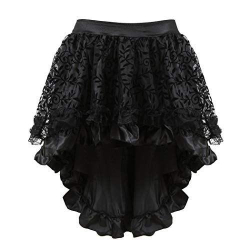 Grebrafan Steampunk Midi Skirt for Women Tulle Multi