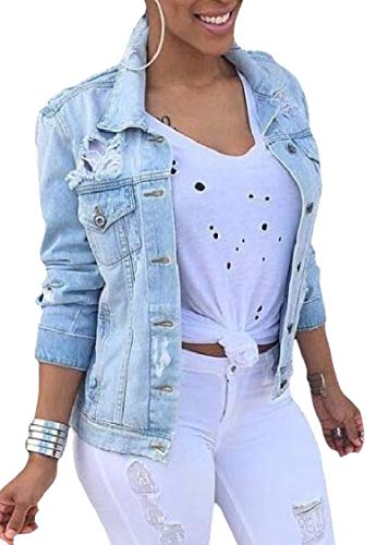 Buttons Lapel Fashion Outwear As Jacket Destroyed EnergyWomen Oversized Denim Picture aq5x4Rw