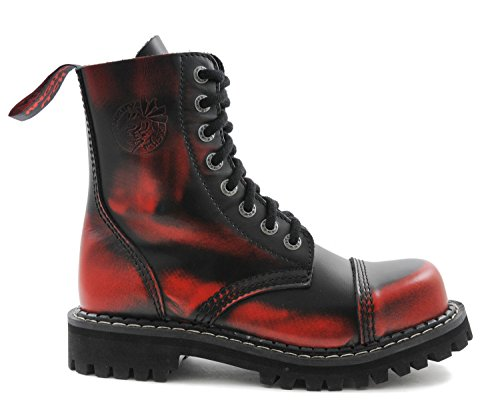 ANGRY ITCH 8-Loch Red Rub-Off Gothic Punk Army Ranger Armee Leder Stiefel mit Stahlkappe