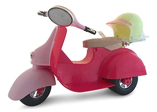 Our Generation Ride In Style Pink Scooter with Green Helmet