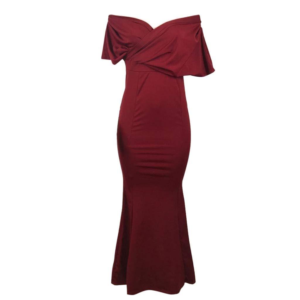 MIRRAY Damen Einfarbig Meerjungfrau Kleid Tiefem V-Ausschnitt Bodenlangen Mantel Trompete Cocktailkleid Brautkleid