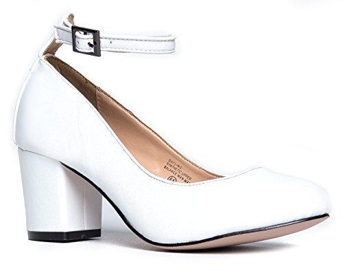 J. Adams Ankle Strap Pump Heel -Comfortable Round Toe Dress Block Shoe - Darling ()
