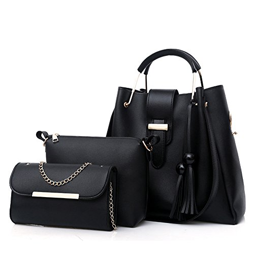 Black PU Leather Handbag+Shoulder Bag+Purse 3pcs Set Tote for Women with Zipper and - Handbag Black Leather 1