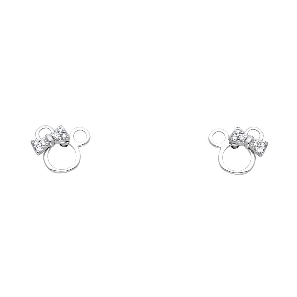 Wellingsale 14K White Gold Polished Mouse Stud Earrings With Screw Back