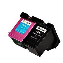 2x Imprimieux Cartouche d'Encre 60XL Niveau d'Encre Visible CC641WN CC644WN BK Tri-Couleur Compatible Pour HP Deskjet F2560 F2568 F4280 F4288