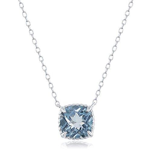 (Sterling Silver Square Blue Topaz Gemstone Rope Design Border 16+2