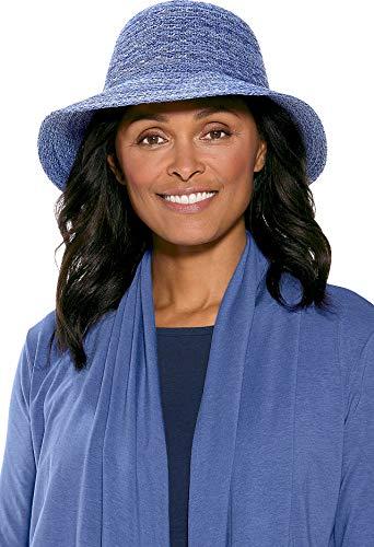 Coolibar UPF 50+ Women's Marina Sun Hat - Sun Protective (One Size- Empire Blue Space Dye)