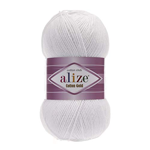 55% Cotton 45% Acrylic Yarn Alize Cotton Gold Thread Crochet Hand Knitting Art Lot of 4skn 400 gr 1444 yds Color 55 White