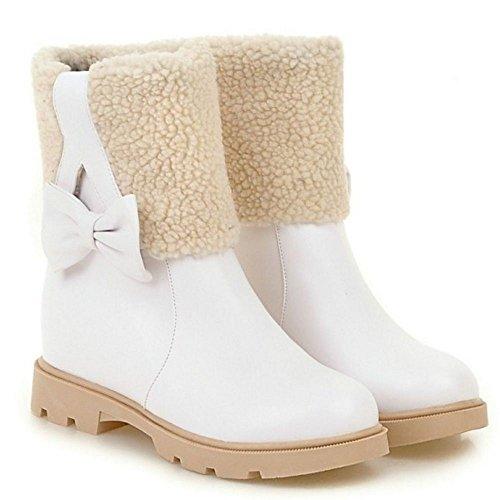 White Women RAZAMAZA Pull Boots Heel On Hidden 1 Y8q4dP