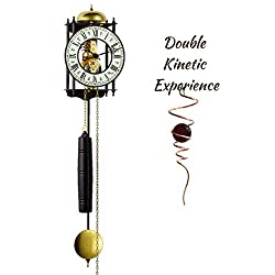 Qwirly 2-Item Bundle: Hermle RAVENSBURG Skeleton Wall Clock Model 70974-000711, 8-Day Movement & Optical Illusion Spinner - Decor for Kitchen, Living or Dining Room - Great for The Holidays