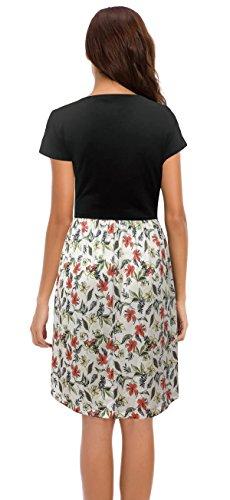 WUERSE Pf1 Crew Neck Print Casual Midi Sleeve Short Floral Women's Dress rwq1AHr